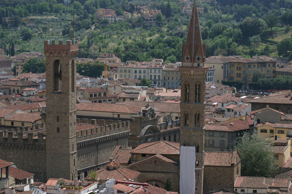 Badia Fiorentina & Bargello (600Wx400H) - The towers of Badia Fiorentina and Bargello seen from the top of the Duomo (Photo by Marco De La Pierre)