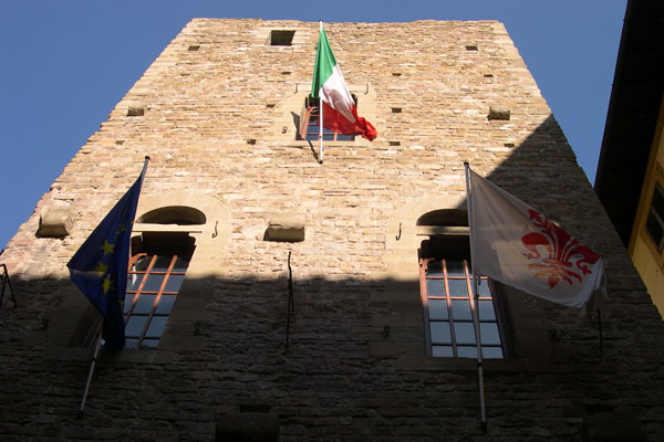 Dante's Peak, Florence (600Wx400H) - The tower of Casa di Dante Alighieri (Dante's House) in the historical center of Florence. Now the house of the