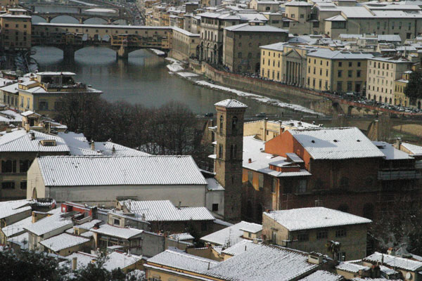 White Xmas (600Wx400H) - 28th December 2005 - View of Florence from Piazzale Michelangelo (Photo by Marco De La Pierre)