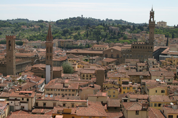 Florence view (600Wx400H) - From left to right: Bargello, Badia Fiorentina, Palazzo Vecchio and Forte Belvedere (on the hills).