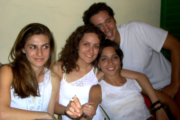 Sicilian Party (600Wx400H) - Hande (Turkey), Patia (Greece), Elisa (Italy), Marc (New York) at a Sicilian Party in Florence. (Photo by Tommaso Ciabini)