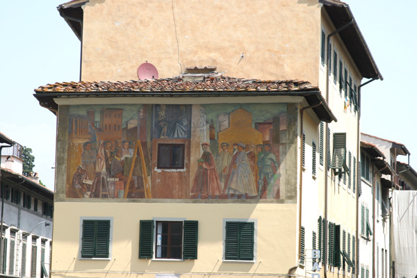 Renaissance Graffiti (600Wx400H) - Renaissance graffiti on a wall of San Frediano, very close to the Porta Romana Walls...