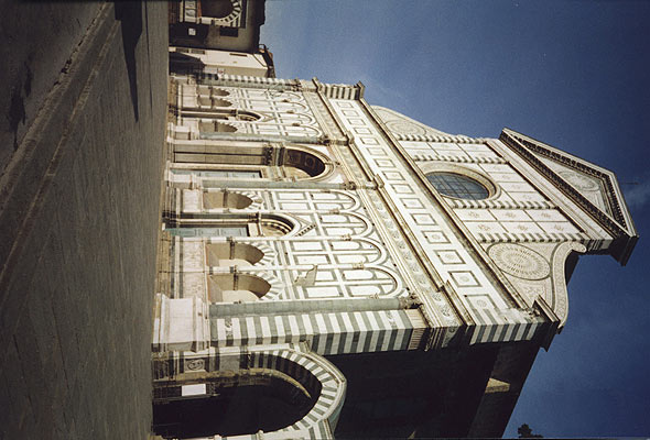 facade of Santa Maria Novella (590Wx400H) - The striking facade of the church of Santa Maria Novella